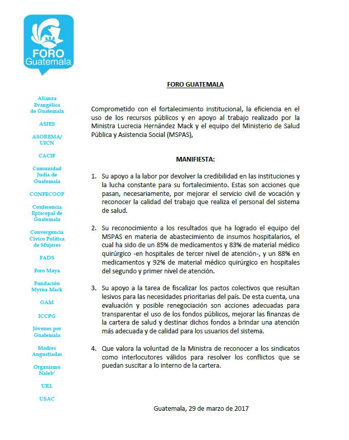 Foro Guatemala - Apoyo al Ministerio de Salud Pública