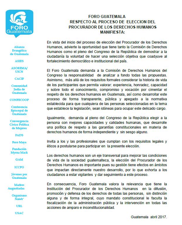 Comunicado Foro Guatemala elección PDH